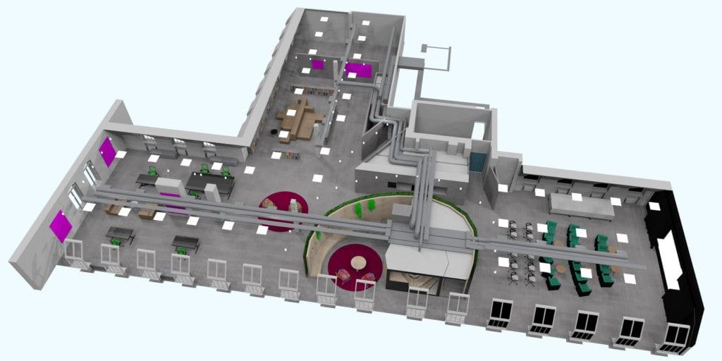 Tilasuunnittelu 3d-malli, talotekniikka
